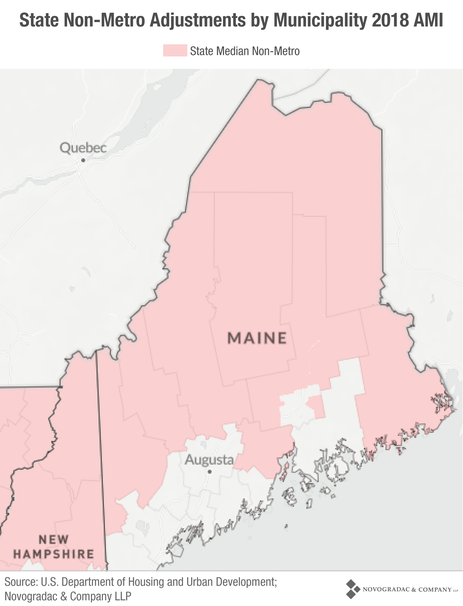 Blog Map State Non-Metro Adjustments by Municipality 2018 AMI (Maine)
