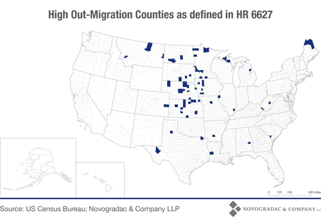 Blog Map High Out-Migration Counties as Defined in HR 6627