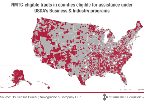 Blog Map NMTC-Eligible Tracts in Counties Eligible for Assistance Under USDA's Business & Industry Programs