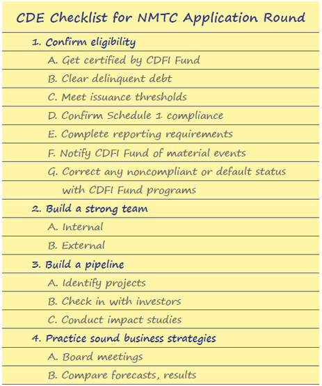 Journal Article Image: CDE Checklist for NMTC Application Round